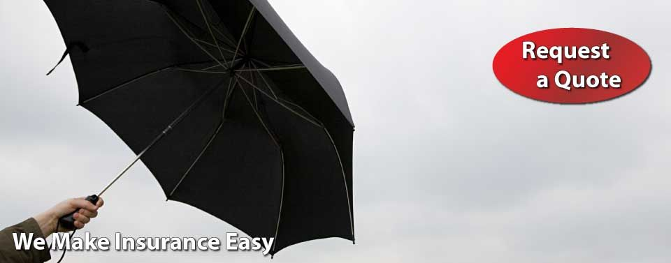 We Make Insurance Easy - Request a Quote - holding an umbrella